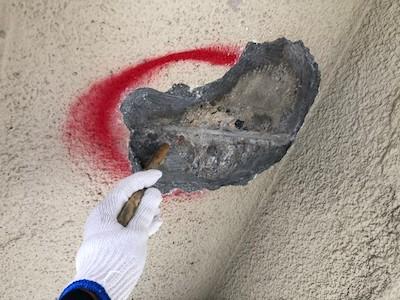 外壁爆裂欠損補修 プライマー塗布