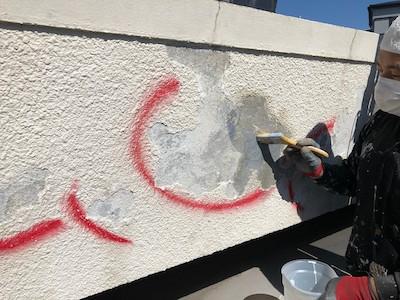 外壁浮き補修 プライマー塗布