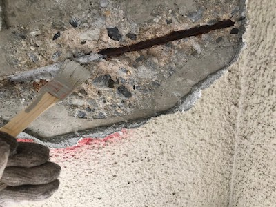 外壁爆裂欠損補修 防錆塗布