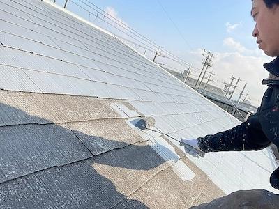 スレート屋根塗装 上塗り1回目